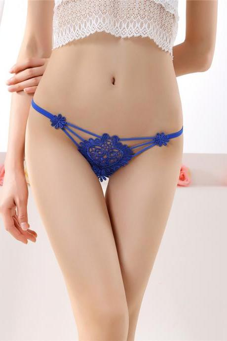 Exquisite embroidery Sexy transparent hollow lady open underwear(Buy two pieces and send one.)