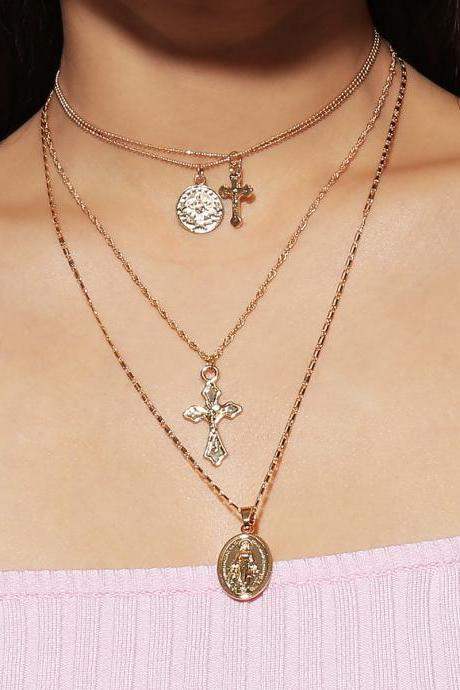 Stylish Multi-tiered Notre Dame Cross Pendant Necklace