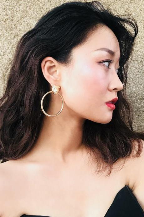 Exaggerated Leopard Head Earrings