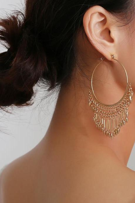 Exaggerated Vintage Geometric Hoop Fringe Earrings