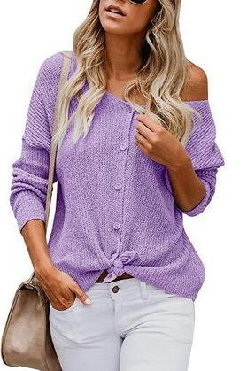 Bear the Shoulder Buttons Solid Color Knit Women Sweater