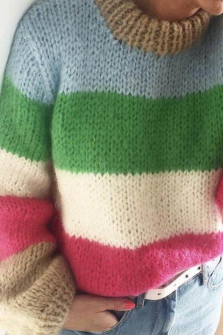 Rainbow Color Stripe Long Bishop Loose Women Pullover Sweater