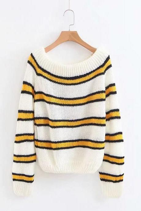Off the Shoulder Stripe Knit Women Pullover Sweater
