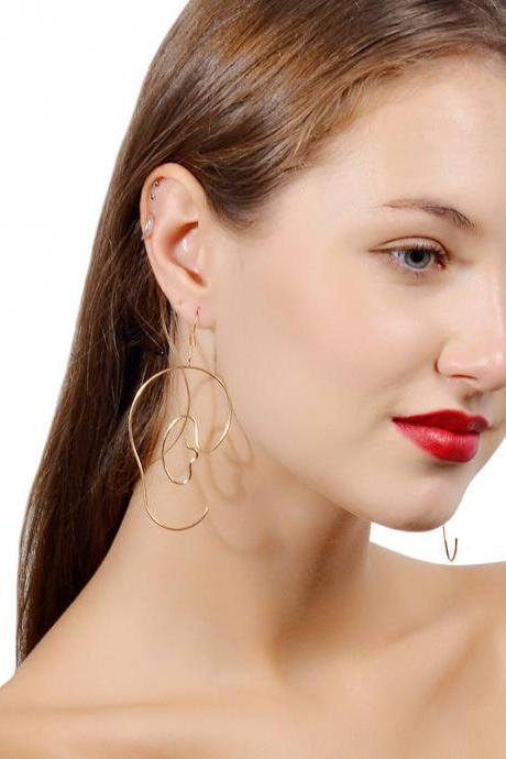 Face Wheel Wide Wire Earrings