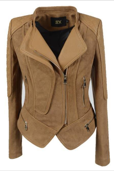 High Neck Laple Zippers Women Slim Irregular Short Jacket