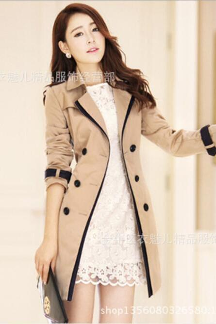 Double Breast Lapel Women Slim Overszied Trech Coat Peacoat