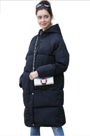 Pure Color Women Winter Warm Long Hooded Down Coat