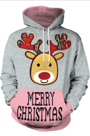 Reindeer Print Women Merry Christmas Party Hoodie
