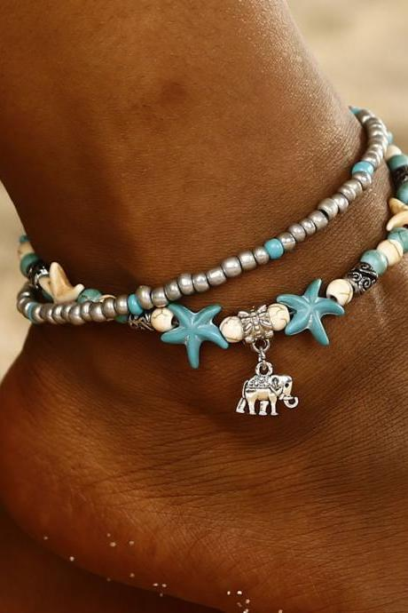 Boho Ethnic Antique 2 Layer Ankle Bracelet Cute Starfish Cuckold Foot Chain For Women Summer Beach Jewelry-5