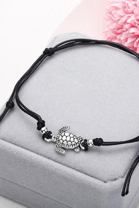 Summer Beach Turtle Shaped Charm Rope String Anklets For Women Ankle Bracelet-2
