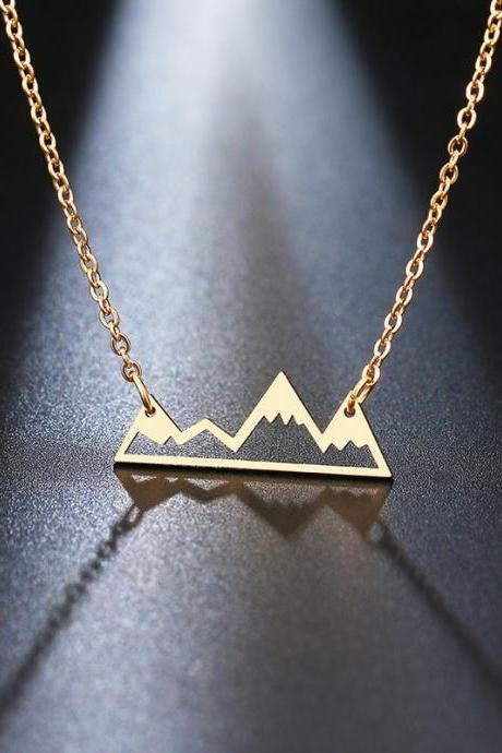 Stainless Steel Necklace Minimalist Mountain Top Pendant Snowy Mountain Necklace Hiking Outdoor Travel Jewelry Mountains-5