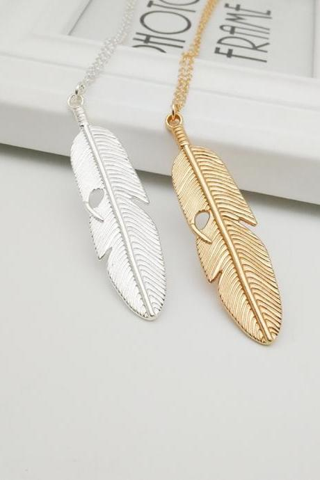 New Bohemia Classic Feather Pendant Necklace Long Leaf Tree of Life Sweater Chain Necklace Fashion Jewelry Gift