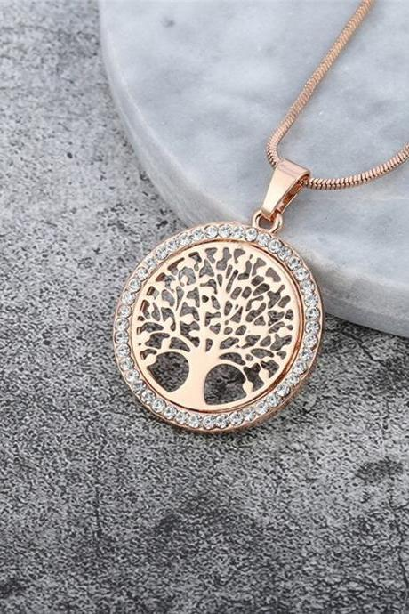 New Bohemia Classic Feather Pendant Necklace Long Leaf Tree of Life Sweater Chain Necklace Fashion Jewelry Gift-2