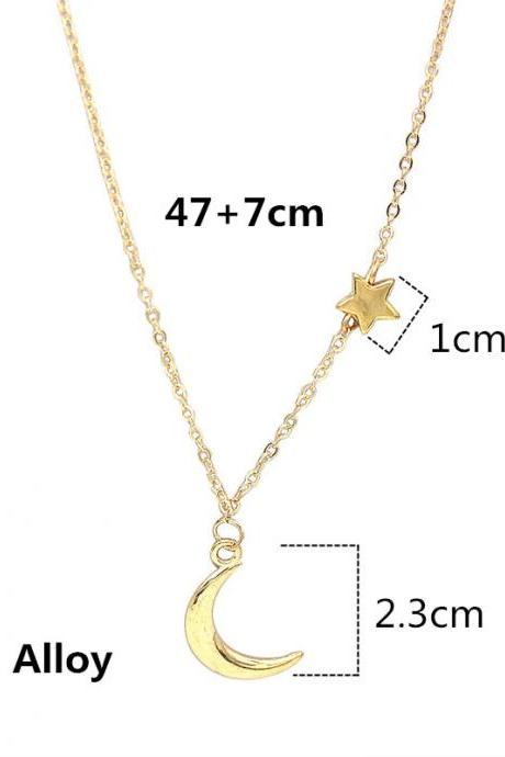 Simple Star & Moon Pendant Necklace For Women New Bijoux Maxi Statement Necklaces