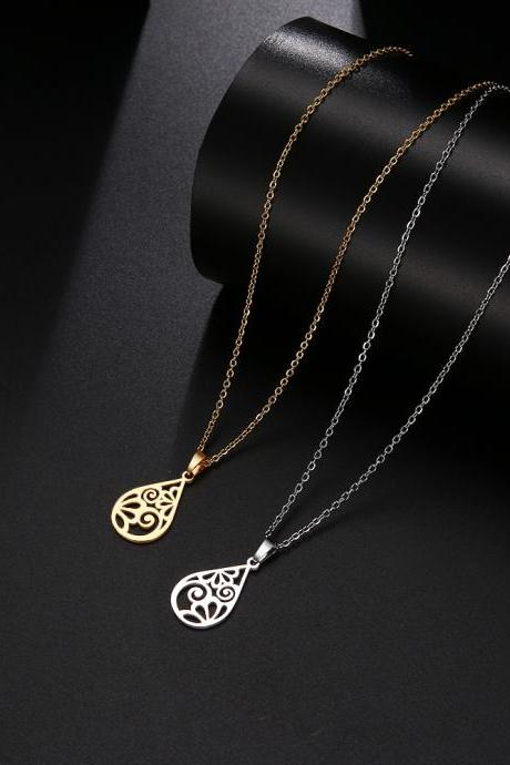 Stainless Steel Necklace For Women Man Design Flower Pattern Choker Gift Pendant Necklace Engagement Jewelry-17