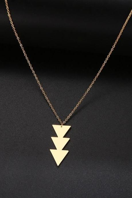 Pendant Necklace geometric Long Chain Women Stainless Steel Necklace