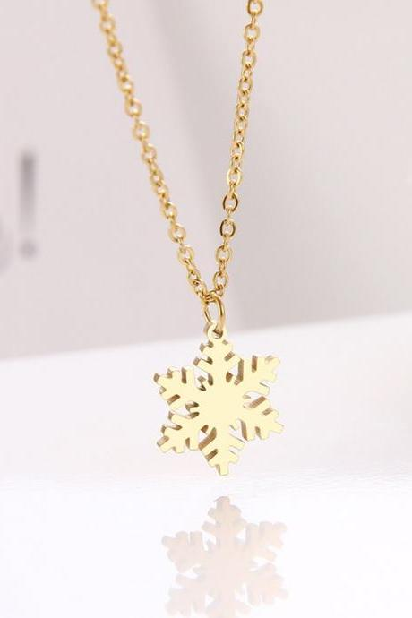 Stainless Steel Necklace For Women Lover's Snowflake Choker Chain Pendant Gold Necklaces Engagement Jewelry-19