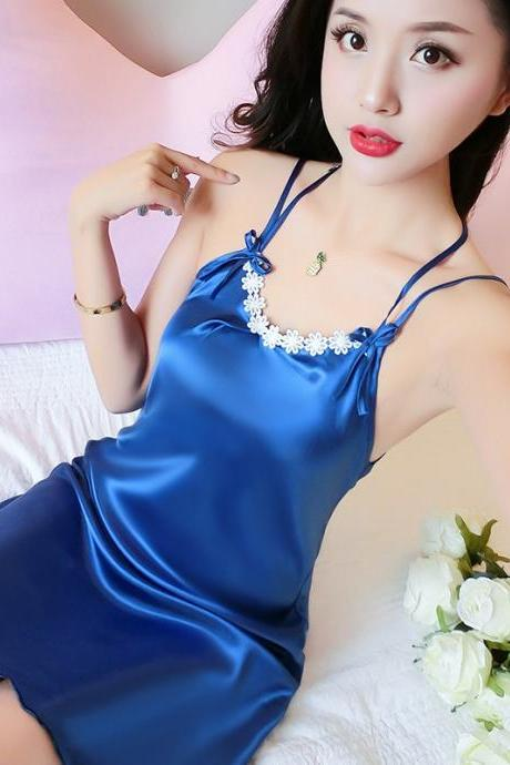 Women Sexy Sleepwear Silk Plus Size Night Dress-Blue