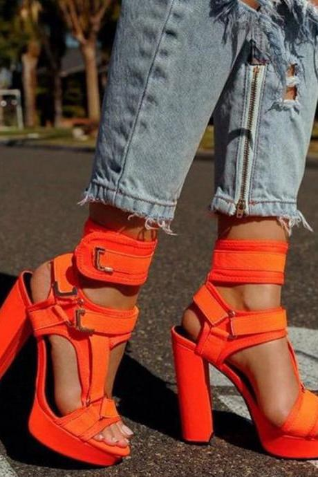 Sexy Buckle Platform Chunky Heel High Heel Sandals
