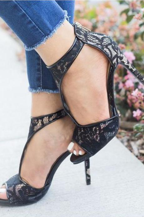 Black Lace Patchwork Peep Toe High Heel Sandals