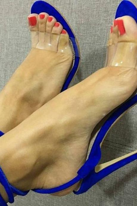 Blue Suede Clear Strap High Heel Sandals
