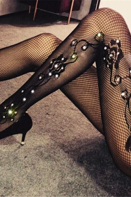 Tights With Rhinestone Sexy Women Stockings Fishnet Pantyhose Shiny Stockings