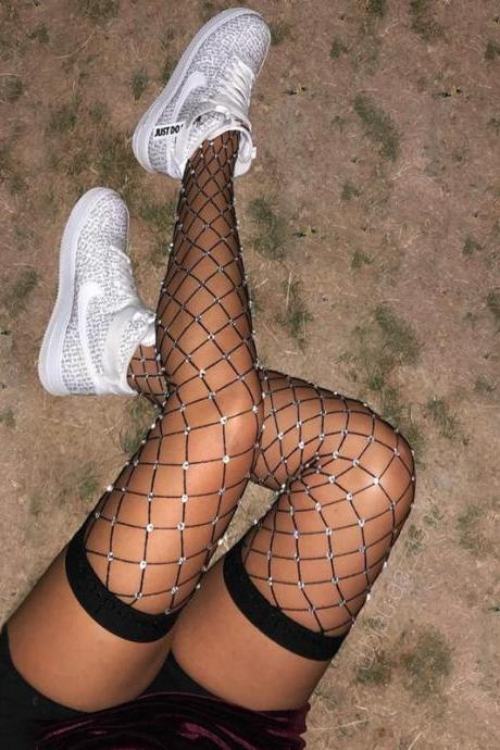 Sexy Woman Crystal Glitter Up Thigh High Stockings Rhinestone fishnet pantyhose Diamond Large grid Tights