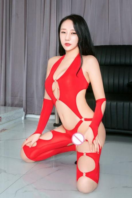 Sexy Women Ice Silk Shiny Open Crotch Bodysuit Hollow Out Shaping Bodysuit Catsuit Body Stockings Backless Jumpsuit With Glove-2