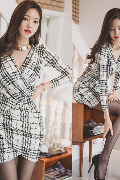 Sexy Deep V Neck Plaid Long Sleeve Bodycon Party Dress