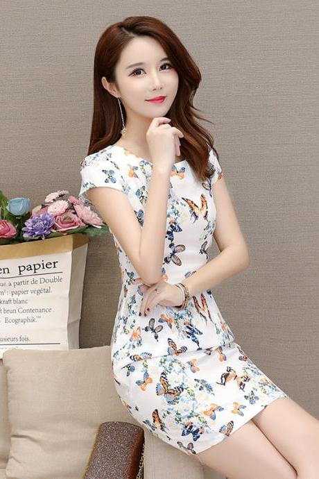 Sexy Butterfly Print Short Sleeve Party Dress