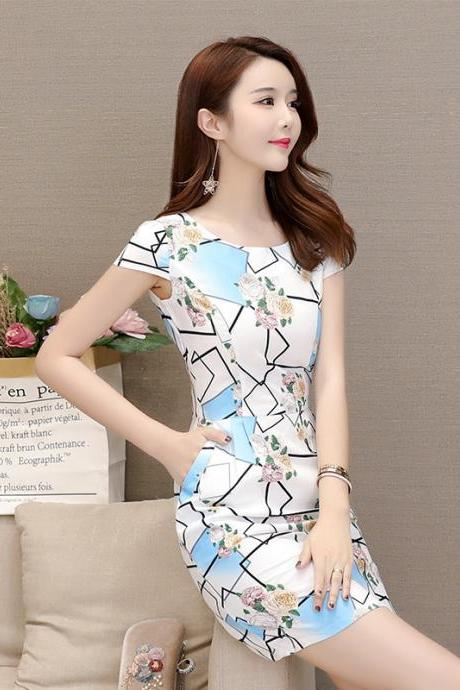 Sexy Geometry Print Short Sleeve Party Dress