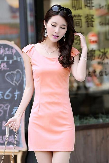 Sexy Casual Short Sleeve Bodycon Pink Dress
