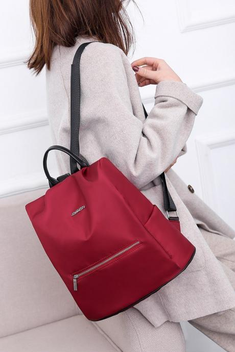 Women Fashionable Wine Red Anti theft oxford Casual Backpack