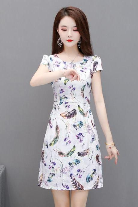 Sexy Feather Print Short Sleeve Bodycon Dress