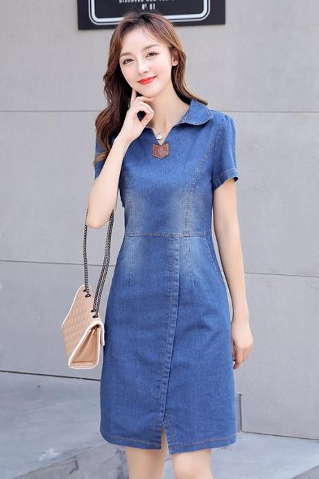 Women Fashion Denim Short Sleeve Mid Dress