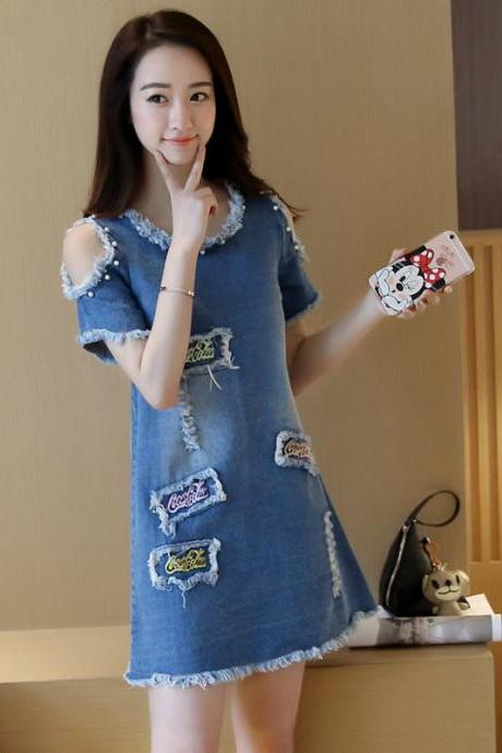 Women Fashion Off Shoulder Hole Denim Mid Dress