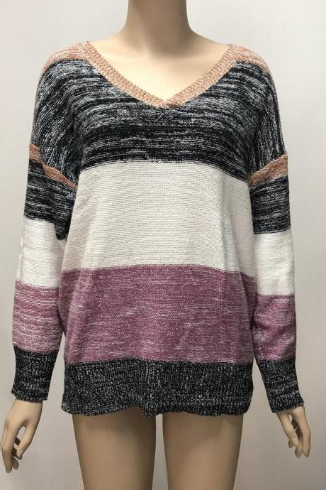 1# Plus Size Colorblock Knitted Top