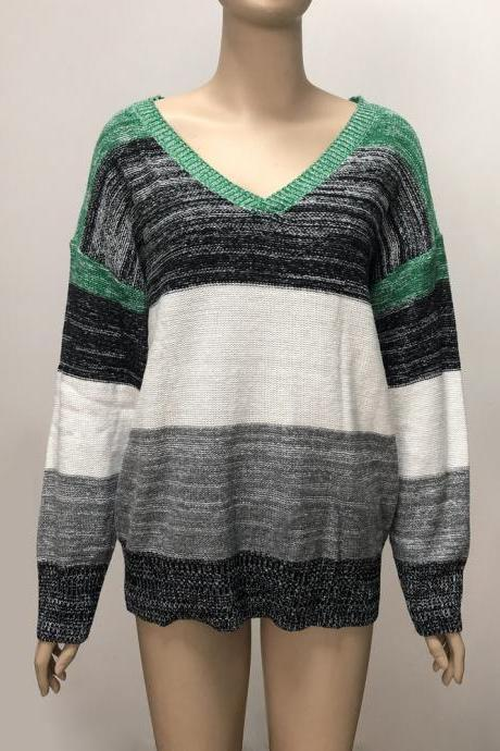 2# Plus Size Colorblock Knitted Top