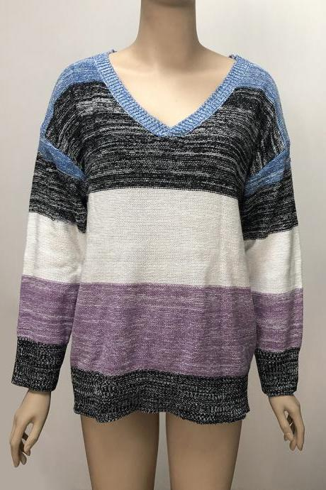 4# Plus Size Colorblock Knitted Top