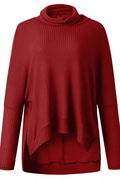 Red Pile Collar Low High Sweater