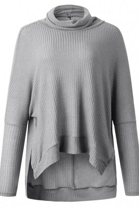 Gray Pile Collar Low High Sweater
