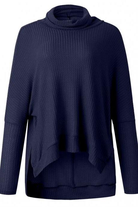 Navy Blue Pile Collar Low High Sweater