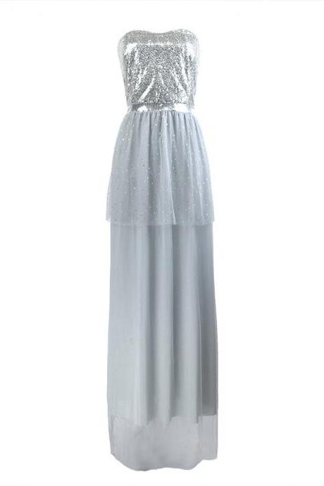 Free Shipping Sexy Gray Squined Bridesmaid Sisters Long Dress