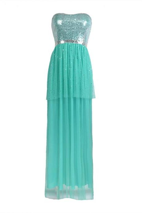 Free Shipping Sexy Green Squined Bridesmaid Sisters Long Dress
