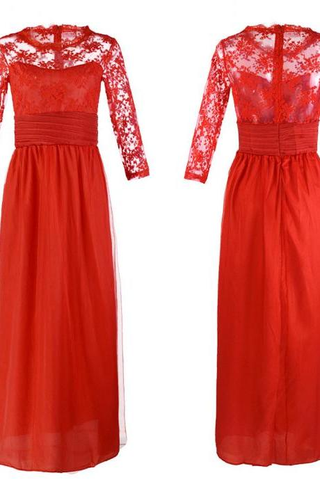 Free Shipping Sexy Red Lace Bridesmaid Sisters Long Dress