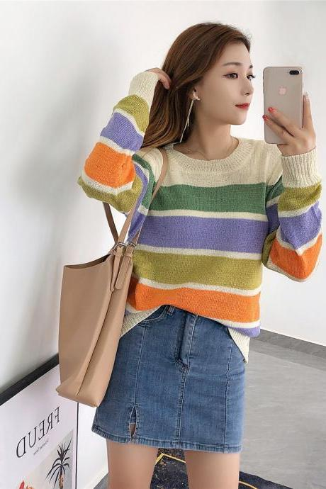 Free Shipping Striped Loose Sweater