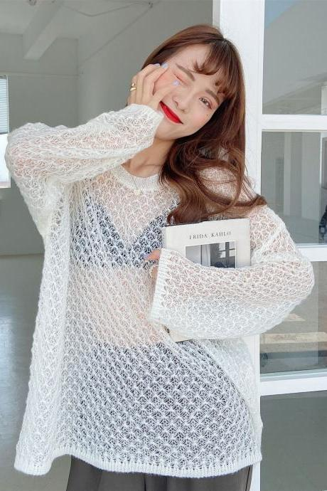 Free Shipping White Hollow Out Loose Sweater