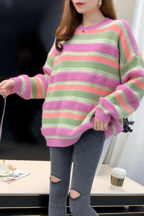 Free Shipping Rainbow Stripe Striped Loose Sweater