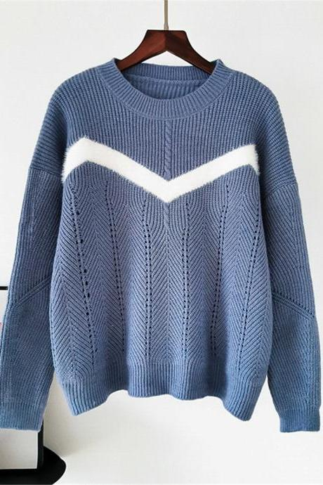 Free Shipping Blue Color Matching Stripe Loose Sweater