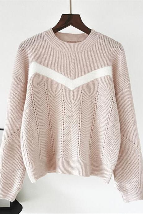 Free Shipping Pink Color Matching Stripe Loose Sweater